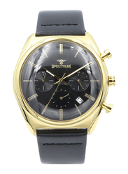 Spectrum Multidimensional Analog Watch for Men, with Leather Band and Chronograph, S23069M-3, Black