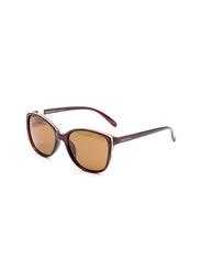 Daniel Klein Polarized Cat Eye Full Rim Brown Frame Sunglasses for Women, Brown Lens, DK4284C