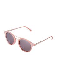 Daniel Klein Polarized Round Full Rim Light Pink Frame Sunglasses for Women, Brown Lens, DK4214C, 50/14/145