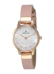 Daniel Klein Analog Watch for Women, with Leather Band and Water Resistant, DK11965-5, Pink-Silver