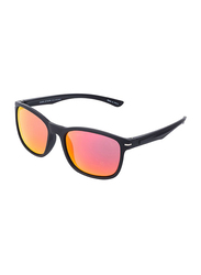 Daniel Klein Polarized Wayfarer Full-Rim Black Frame Sunglasses for Men, Mirrored Pink Gradient Lens, DK3170C, 53/18/135
