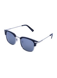 Daniel Klein Polarized Clubmaster Full-Rim Silver Frame Sunglasses for Men, Grey Lens, DK3179C, 50/18/130