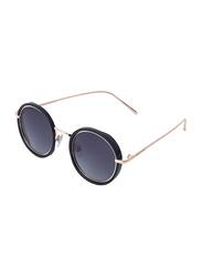 Daniel Klein Polarized Round Full Rim Black Frame Sunglasses for Women, Blue Lens, DK4199C, 50/18/140