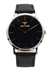 Spectrum Analog Watch for Men, with Leather Band, S12440M-2, Black-Black/Rose Gold