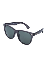 Daniel Klein Polarized Wayfarer Full-Rim Black Frame Sunglasses for Men, Green Lens, DK3169C, 54/13/135