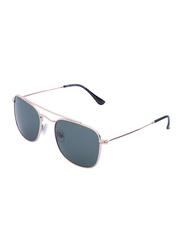 Daniel Klein Polarized Rectangular Full-Rim Rose Gold Frame Sunglasses for Men, Blue Lens, DK3154C, 52/21/130