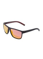 Daniel Klein Polarized Wayfarer Full-Rim Black Frame Sunglasses for Men, Pink/Yellow Lens, DK3141C, 55/13/130