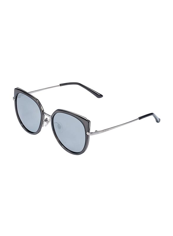 Daniel Klein Polarized Cat Eye Full Rim Anthracite Frame Sunglasses for Women, Black Lens, DK4255C, 55/15/150