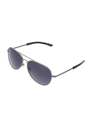 Daniel Klein Polarized Aviator Full-Rim Grey Frame Sunglasses for Men, Anthracite Lens, DK3177C, 56/10/140