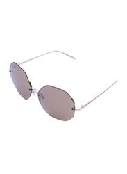 Daniel Klein Polarized Hexagonal Half Rim Rose Gold Frame Sunglasses for Women, Brown Lens, DK4203C, 50/12/140