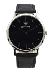 Spectrum Analog Watch for Men, with Leather Band, S12440M-4, Black