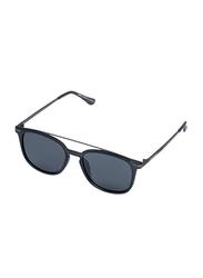 Daniel Klein Polarized Wayfarer Full-Rim Black Frame Sunglasses for Men, Black Lens, DK3202C, 52/18/140