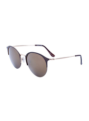 Daniel Klein Polarized Trendy Clubmaster Half-Rim Brown Frame Sunglasses for Women, Brown Lens, DK4167PC, 50/16/140