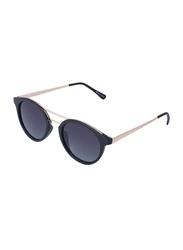 Daniel Klein Polarized Round Full Rim Rose Gold Frame Sunglasses for Women, Black Lens, DK4214C, 50/14/145