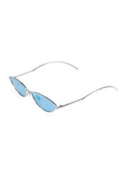 Daniel Klein Polarized Cat Eye Full Rim Silver Frame Sunglasses Women, Blue Lens, DK4267C, 60/20/140