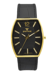 Spectrum Analog Watch for Men, with Leather Band, S12474M-1, Black-Black/Gold
