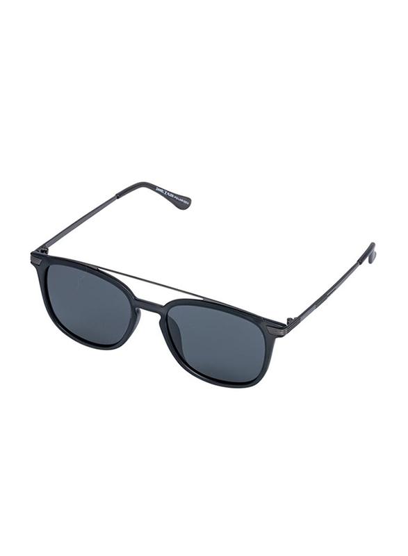 Daniel Klein Polarized Wayfarer Full-Rim Blue Frame Sunglasses for Men, Mirrored Blue Lens, DK3202C, 52/18/140