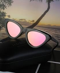 Daniel Klein Polarized Cat Eye Full Rim Brown Frame Sunglasses for Women, Mirrored Pink Lens, DK4274C, 52/18/140