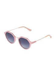 Daniel Klein Polarized Oval Full Rim Pink Frame Sunglasses for Women, Grey Lens, DK4265C, 50/18/140