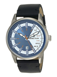 Daniel Klein Analog Watch for Men, with Leather Band and Water Resistant, DK12151-3, Black-Blue