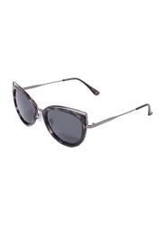 Daniel Klein Polarized Cat Eye Full Rim Black Frame Sunglasses for Women, Black Lens, DK4213C, 50/12/130