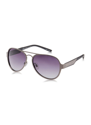 Daniel Klein Polarized Aviator Full-Rim Grey Frame Sunglasses for Men, Anthracite Lens, DK3173C, 56/12/130