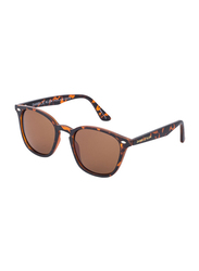 Daniel Klein Polarized Wayfarer Full-Rim Animal Print Frame Sunglasses for Men, Brown Lens, DK3166C, 48/13/140