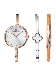 Daniel Klein Analog Watch for Women, with Metal Band and Water Resistant, DK11928-2, Rose Gold-Silver
