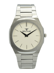 Spectrum Analog Watch for Men, with Stainless Steel Band, S25182M-4, Silver-White