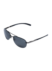Daniel Klein Polarized Aviator Half-Rim Black Frame Sunglasses for Men, Black Lens, DK1260C, 55/17/150