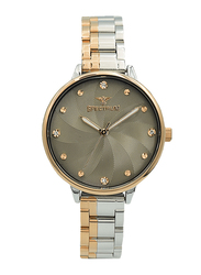 Spectrum Analog Watch for Women, with Stainless Steel Band, S25185L-5, Silver/Rose Gold-Grey