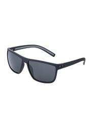Daniel Klein Polarized Wayfarer Full-Rim Black Frame Sunglasses for Men, Grey Lens, DK3141C, 55/13/130