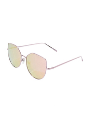 Daniel Klein Polarized Trendy Oversized Full-Rim Rose Gold Frame Sunglasses for Women, Mirrored Orange Lens, DK4175C, 56/14/140
