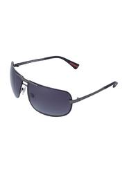 Daniel Klein Polarized Rectangular Full-Rim Grey Frame Sunglasses for Men, Anthracite Lens, DK3076C, 68/13/120