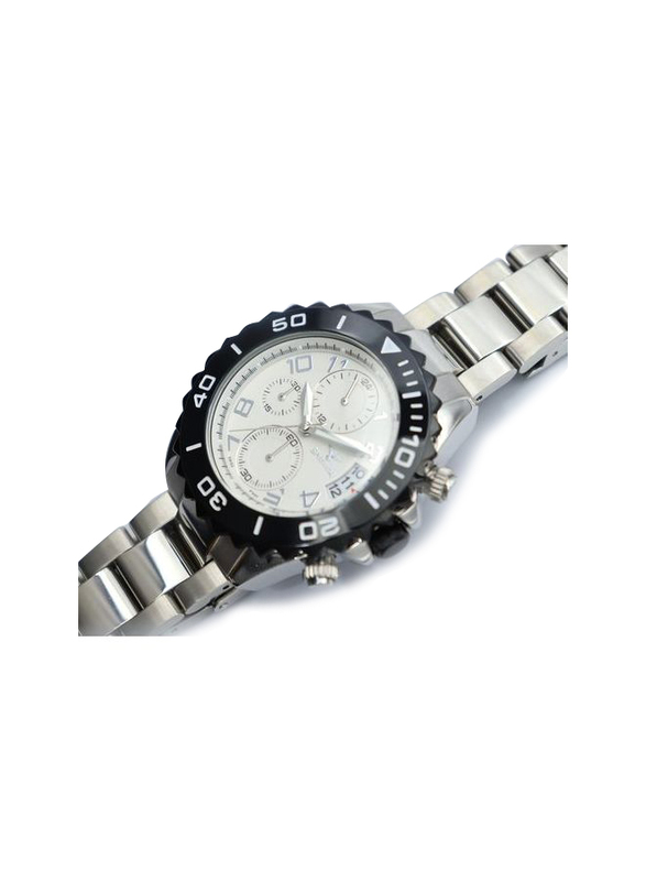 Spectrum Explorer Analog Watch for Men, with Stainless Steel Band and Chronograph, S92988M, Silver-White/Black