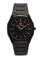 Spectrum Analog Watch for Men, with Stainless Steel Band, S25182M-3, Black