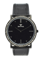 Spectrum Analog Watch for Men, with Leather Band, S12501M-5, Black