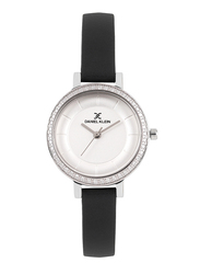 Daniel Klein Analog Watch for Women, with Leather Band and Water Resistant, DK11805-1, Black-Silver
