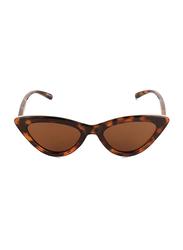Daniel Klein Polarized Cat Eye Full Rim Brown Frame Sunglasses for Women, Dark Brown Lens, DK4274C, 52/18/140
