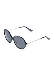Daniel Klein Polarized Hexagonal Full Rim Black Frame Sunglasses for Women, Black Lens, DK4251C, 55/15/140