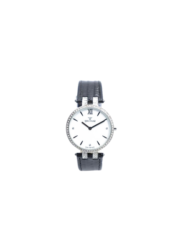 Spectrum Creative Analog Watch for Women, with Leather Band, 12504L, Black-White