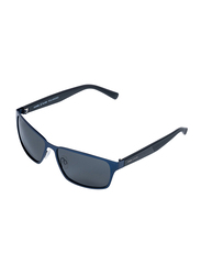 Daniel Klein Polarized Sport Full-Rim Blue Frame Sunglasses for Men, Black Lens, DK3187C, 60/20/140