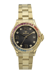 Spectrum Analog Watch for Women, with Stainless Steel Band, S25183L-2, Gold-Black