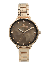 Spectrum Analog Watch for Women, with Stainless Steel Band, S25185L-7, Rose Gold-Coffee Brown