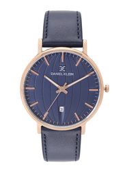 Daniel Klein Analog Watch for Men, with Leather Band and Water Resistant, DK12104, Blue