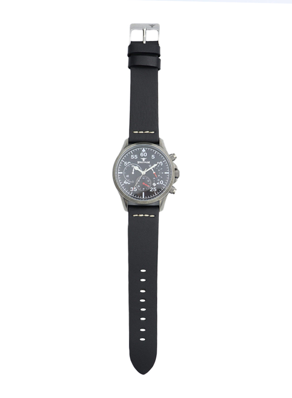 Spectrum Multidimensional Analog Watch for Men, with Leather Band and Chronograph, S23019M-2, Black