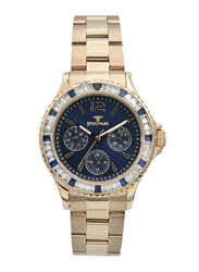 Spectrum Analog Watch for Women, with Stainless Steel Band and Chronograph, S25184L-6, Rose Gold-Blue
