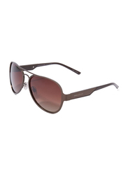 Daniel Klein Polarized Aviator Full-Rim Brown Frame Sunglasses for Men, Brown Lens, DK3173C, 56/12/130