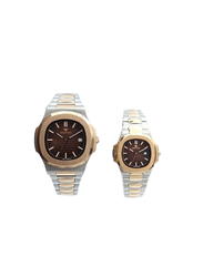 Spectrum Explorer Analog Unisex Couple Watches, with Stainless Steel Band, 12583L, Silver/Rose Gold-Brown