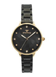 Spectrum Analog Watch for Women, with Stainless Steel Band, S25185L-10, Black